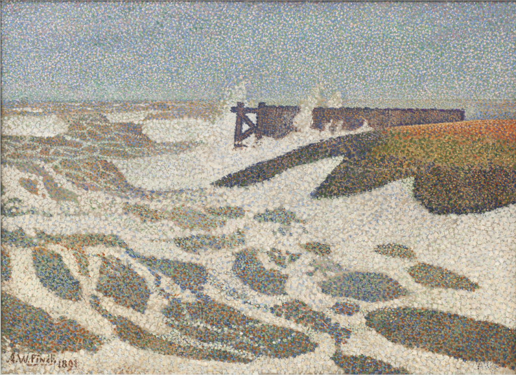 Alfred William Finch: Breaking the Waves at Heyst, 1891, 67 x 90,5 cm
